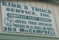 Kirk's Truck Service sign